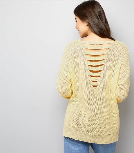 Cameo Rose Yellow Ladder Back Jumper | New Look