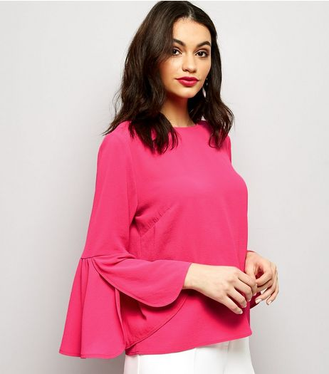 Cameo Rose Bright Pink Frill Sleeve Top  | New Look