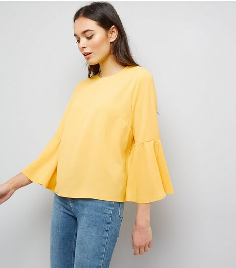 Cameo Rose Yellow Bell Sleeve Top | New Look