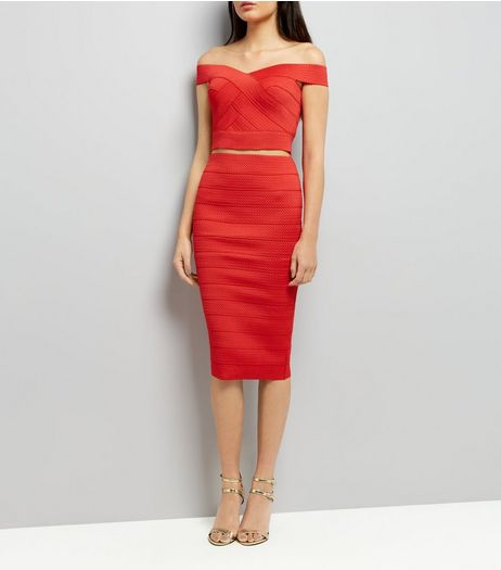 Red Bandage Pencil Skirt | New Look