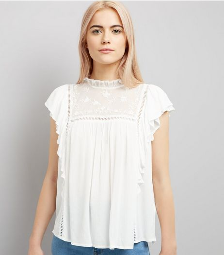 White Lace Frill Trim Top | New Look