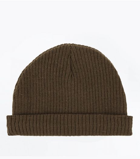 Khaki Ribbed Beanie  | New Look