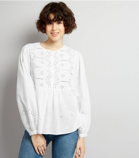 White Cut Out Detail Long Sleeve Top | New Look