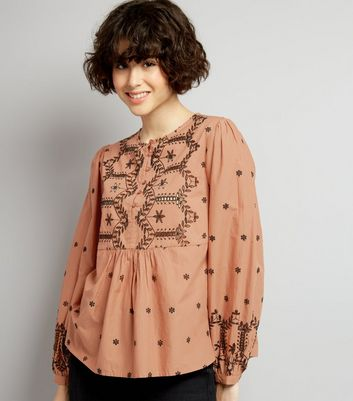 Light Brown Cut Out Long Sleeve Top