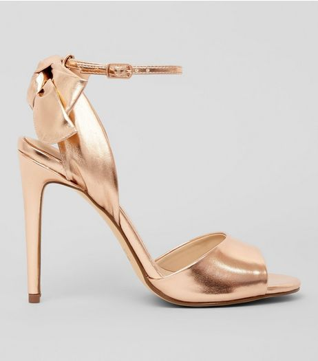 Rose Gold Bow Heeled Sandals  | New Look