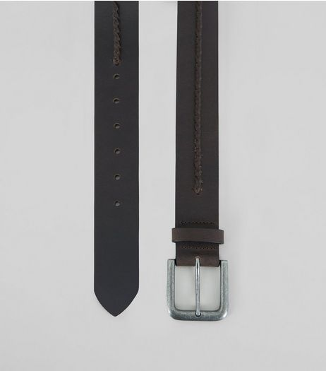 Brown Leather Weave Trim Belt | New Look