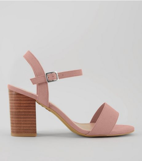 Wide Fit Pink Wooden Block Heels | New Look