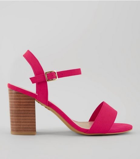 Wide Fit Pink Wooden Heeled Sandals | New Look