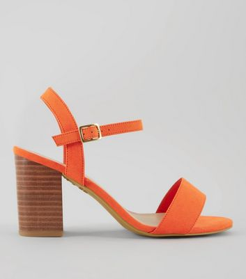 Wide Fit Orange Wooden Block Heels | New Look