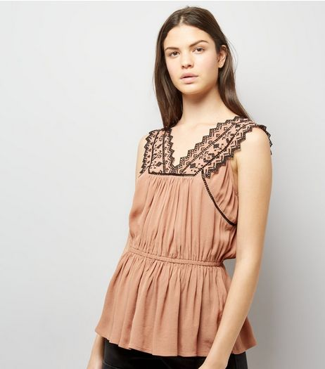 Tan Cut Out Trim Sleeveless Top | New Look