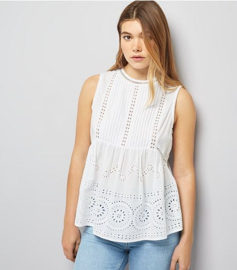 White Broderie Sleeveless Top | New Look