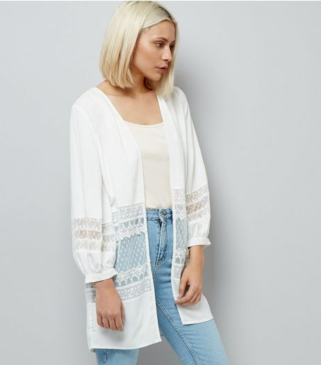 White Lace Trim Mesh Panel Kimono | New Look