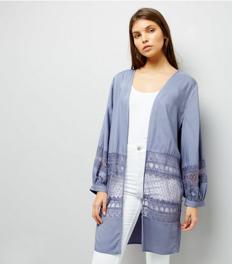 Blue Lace Trim Mesh Panel Kimono | New Look