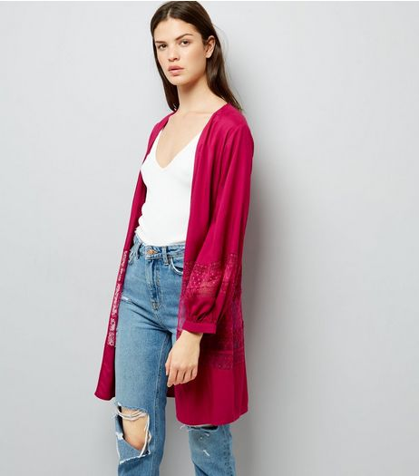 Deep Pink Lace Trim Mesh Panel Kimono | New Look