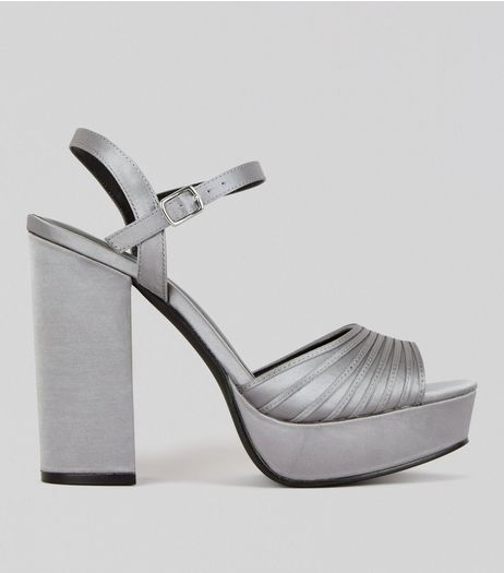 Silver Ankle Strap Platform Heels | New Look