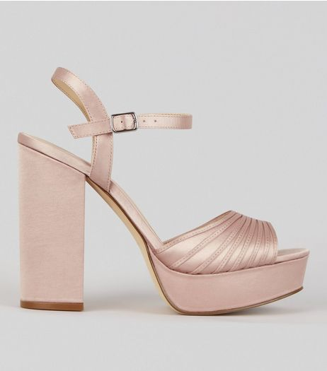 Pink Satin Chunky Ribbed Platform Heels | New Look