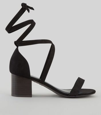 Wide Fit Black Suedette Ankle Tie Heeled Sandals | New Look