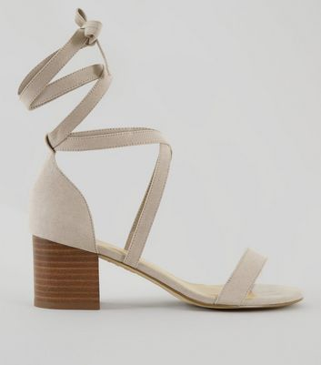 Wide Fit Grey Suedette Ankle Tie Heeled Sandals | New Look