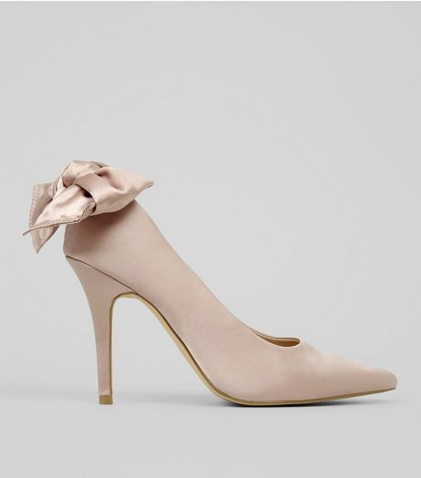 Shell Pink Satin Bow Back Court Heels | New Look