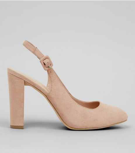 Wide Fit Nude Sling Back Pointed Heels | New Look