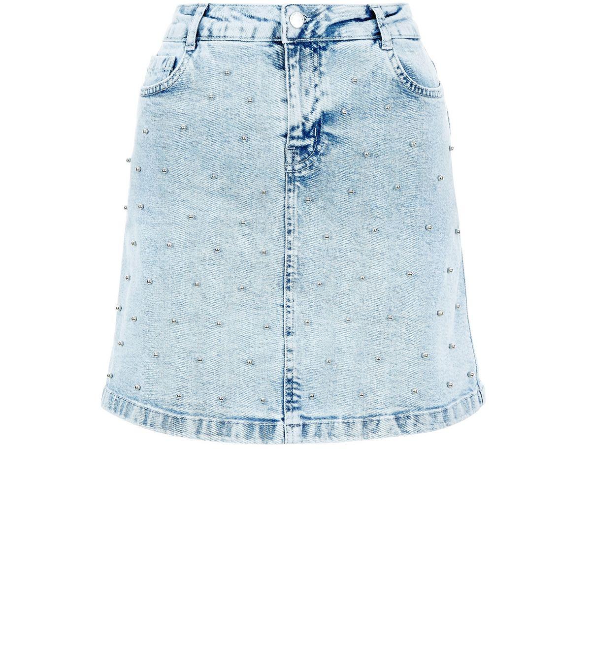 Petite Blue Acid Wash Beaded Denim Mini Skirt | New Look