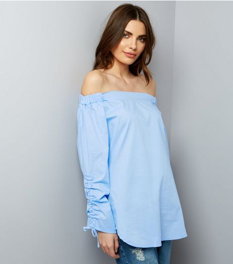 Cameo Rose Blue Ruched Sleeve Bardot Neck Top | New Look