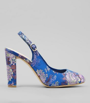 Wide Fit Blue Floral Brocade Sling Back Heels | New Look