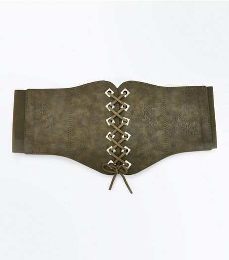 Khaki Eyelet Trim Lace Up Corset Belt | New Look