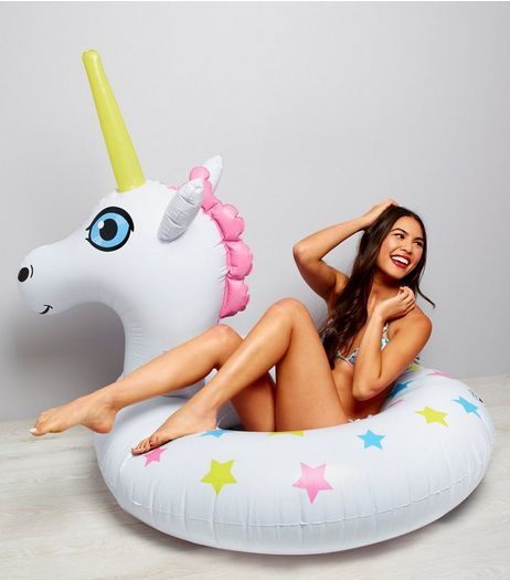 White Unicorn Inflatable Pool Float | New Look