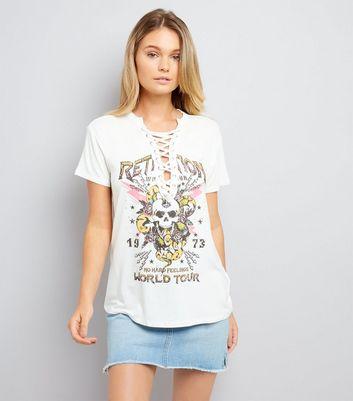 White Skull Print Lace Up T-Shirt
