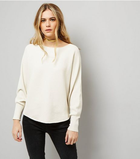 Apricot Stone Batwing Sleeve Fine Ribbed Jumper  | New Look