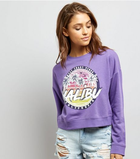 Purple Malibu Print Cropped Sweater  | New Look