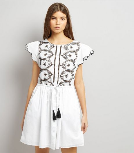White Cut Out Short Sleeve Skater Dress | New Look