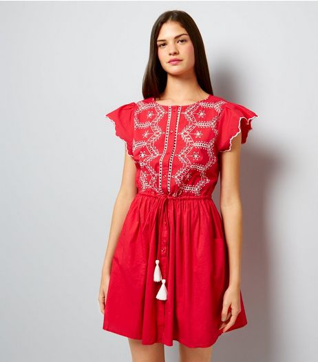 Red Cut Out Short Sleeve Skater Dress | New Look