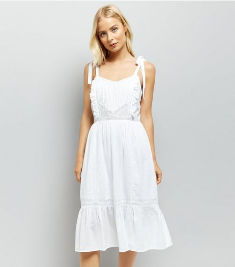 White Tie Strap Crochet Trim Sundress | New Look