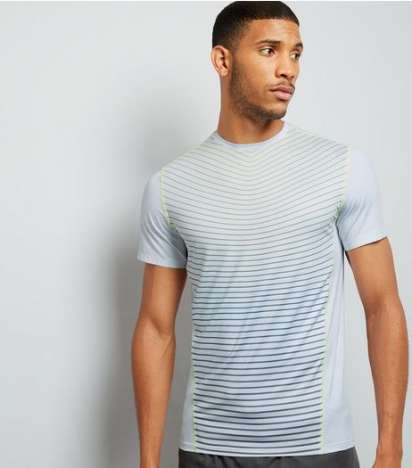 White Stripe Panel Sports T-Shirt | New Look