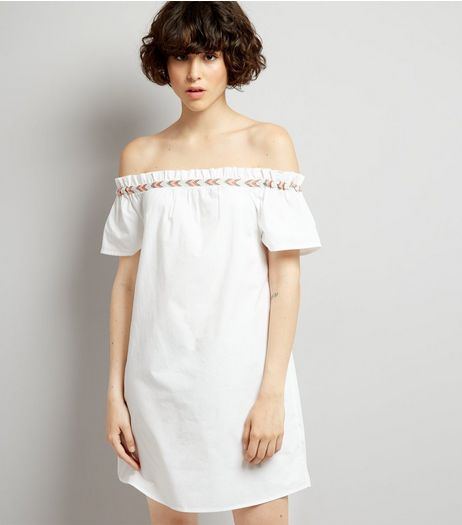 White Embroidered Trim Cold Shoulder Dress | New Look