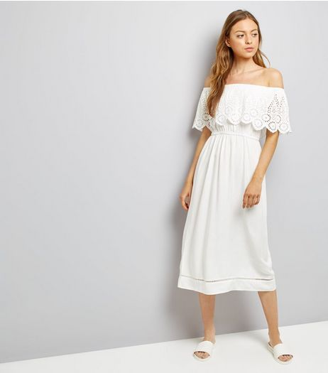 White Cut Out Frill Trim Bardot Neck Midi Dress | New Look