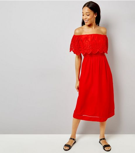 Red Cut Out Detail Bardot Neck Midi Dress | New Look