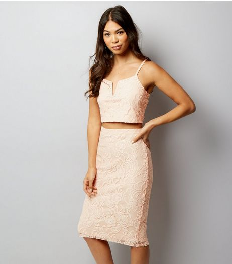Shell Pink Lace Midi Skirt  | New Look
