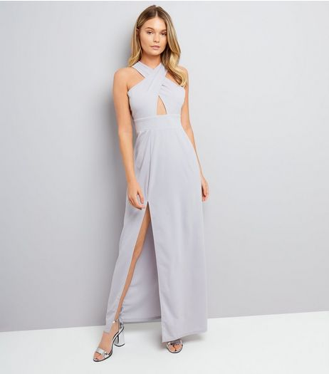 AX Paris Silver Cross Strap Front Maxi Dress  | New Look