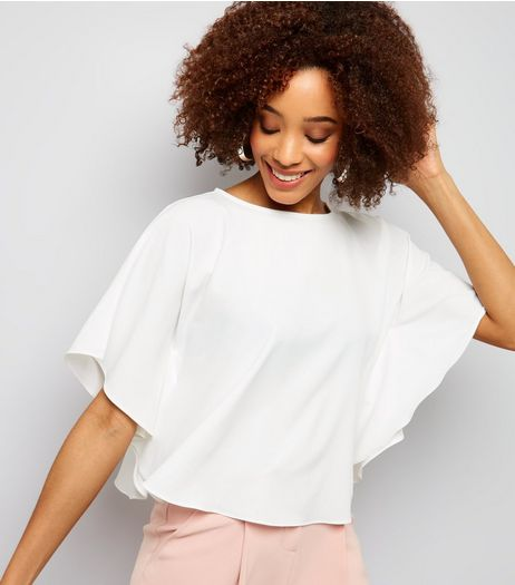 Cameo Rose White Poncho Crop Top | New Look