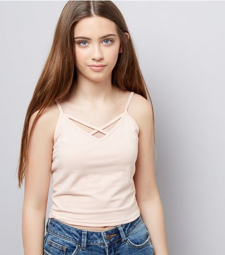 Teens Shell Pink Lattice Front Cami | New Look