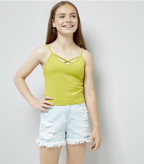 Teens Yellow Lattice Front Cami | New Look