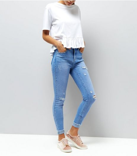 Blue Ripped Drop Hem Skinny Jenna Jeans | New Look