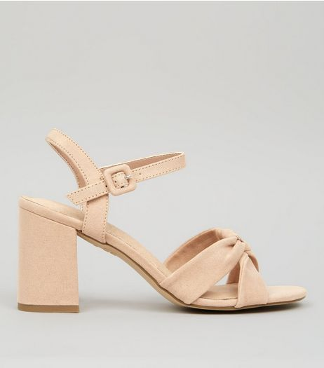 Nude Pink Comfort Suedette Cross Strap Block Heels | New Look