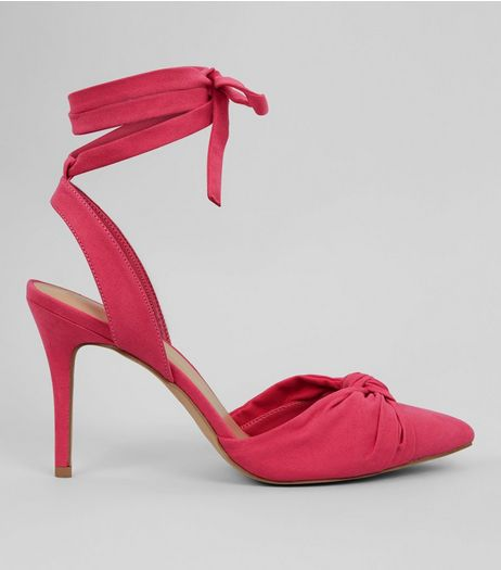 Pink Ankle Tie Pointed Heels | New Look