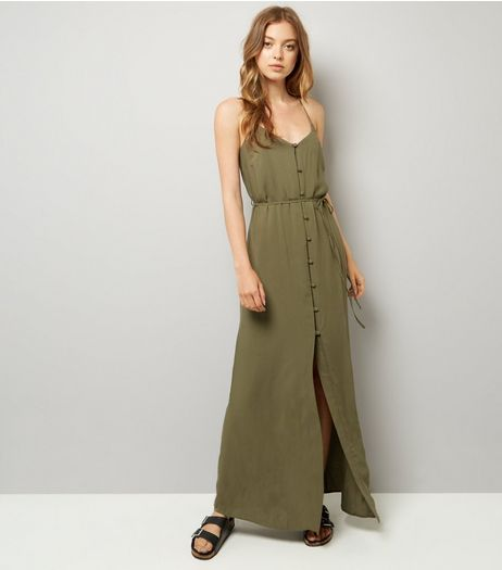 Khaki Button Front Maxi Dress | New Look