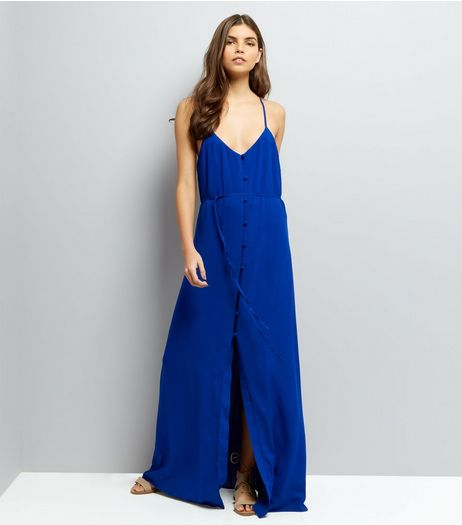 Blue Button Front Maxi Dress | New Look