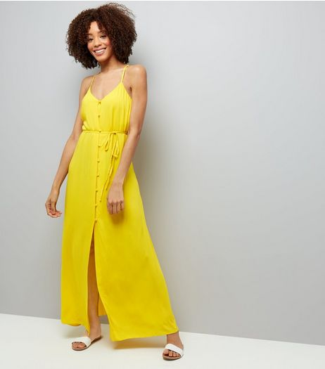 Yellow Button Front Maxi Dress | New Look